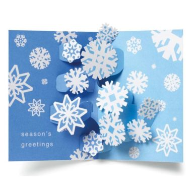 Swirling Snowflakes Pop Up Boxed Holiday Christmas Greeting Cards