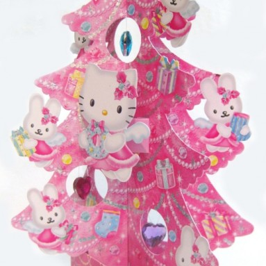 3D Decorative Angel Hello Kitty Christmas Tree Greeting Card