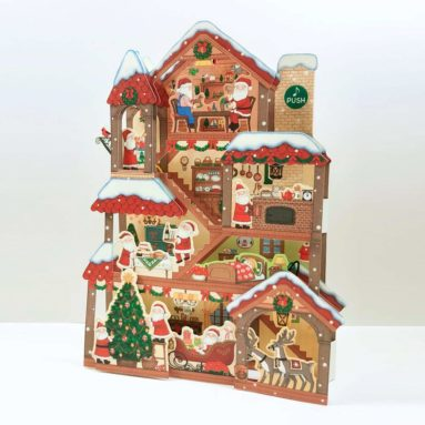 Illuminated Santa Claus Christmas Home Lights and 20 Melodies Pop Up Greeting Card