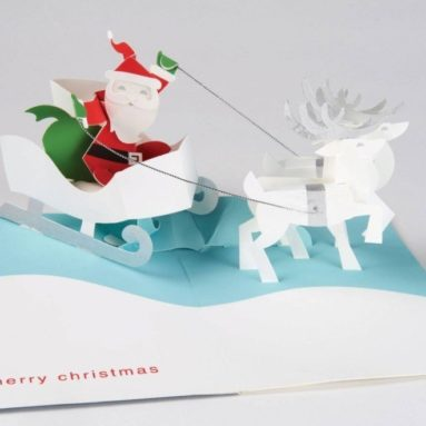 Santa and Reindeer Boxed Holiday Pop Up Cards
