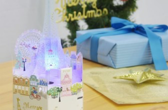 3D Laser Cut Merry Christmas Eiffel Tower Lights and Melody Pop Up Card