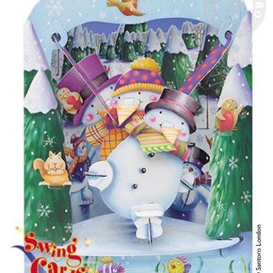 Snowman 3-D Swing Greeting Card