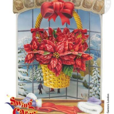 Poinsettia 3-D Swing Greeting Card